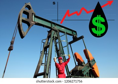Oil worker at oil well holding US dollar bills under the graph growth money with red up arrow and US dollar symbol in a drop of crude oil