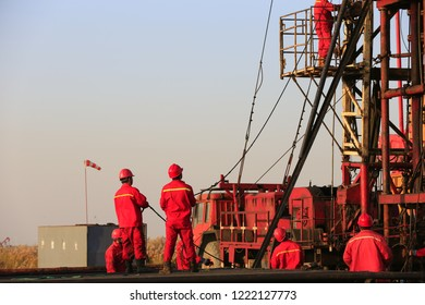 the oil workers are working