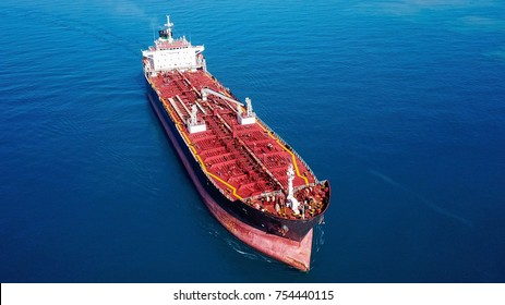 Oil/Chemical tanker at sea - Aerial view