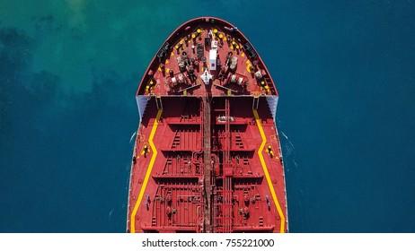 Oil/Chemical tanker at sea - Aerial view