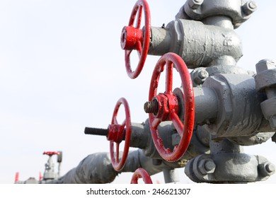 Oilfield pipeline switch in close-up