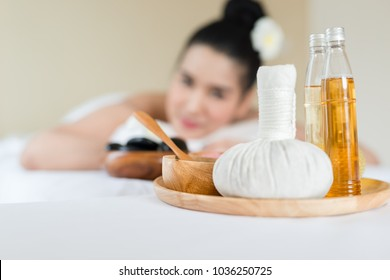 Oils and compress used in a spa massage in salon