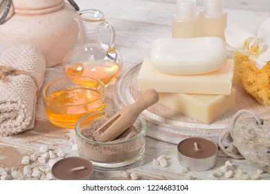 oils for a home spa, pumice, natural soap chocolate facial mask, pumice,