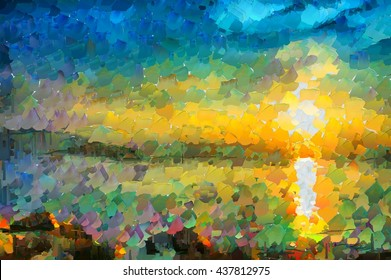 Oily Abstract landscape with the sea at sunset painted by a palette knife. Digital painting