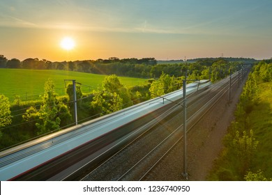 Oise, France - August 18, 2016: the high speed train of France, the TGV of the SNCF.
