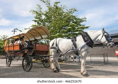 OITA,JAPAN - MAY 29,2014 : A horse-driven carriage for tourist in front of Yufuin station. A horse-driven carriage has been running since 1975 ,Now it is an iconic attraction of Yufuin city.