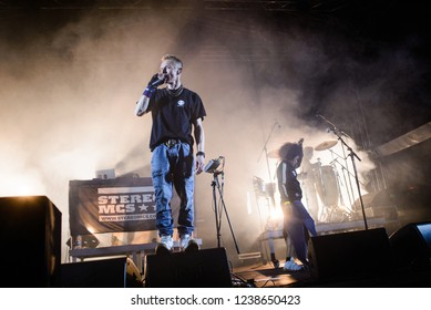 OK Fest, Nacionalni park Sutjeska - July 06th 2018: British hip hop/electronic dance group Stereo MCs performing on main stage at OK Fest 2018