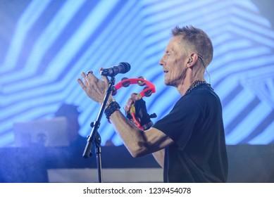 OK Fest, Nacionalni park Sutjeska - July 06th 2018: Nick Hallam, lead singer of British hip hop/electronic dance group Stereo MCs performing on main stage at OK Fest 2018