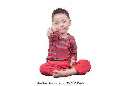 Ok gesture thumb up happy kid boy on white background