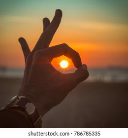 Ok Hand Gesture Sun Sea Sunset