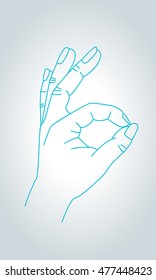 OK sign hand gesture. OK, approval, agreement and all is well gesture symbol in thin line style.