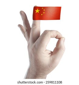 OK symbol and the flag of  China