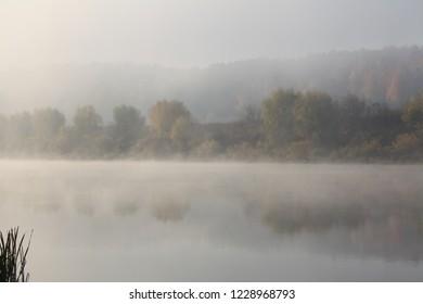 Oka river fog