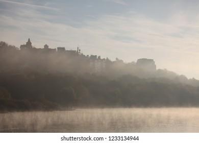 Oka river fog sunrise