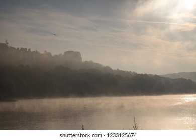 Oka river old town Kaluga sunrise
