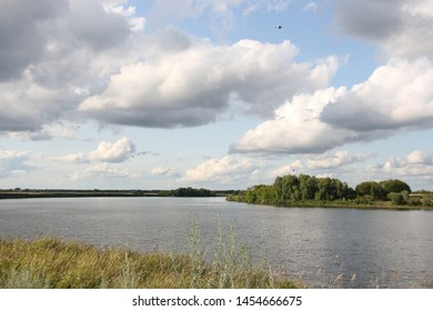 Oka River on a summer cloudy day near the village Fedyakino Ryazan region overlooking flood plains