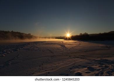 Oka river russia frost winter