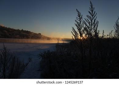 Oka river russia winter landscape