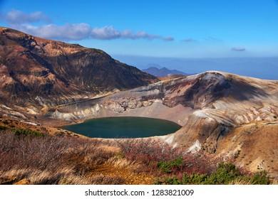 Okama crater at Mount Zao it still active volcano in Miyagi, Tohoku, Japan