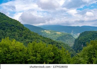 okatse canyon view from suspended bridge - Kutaisi Caucasus mountain Georgia
