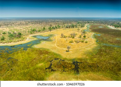 Okavango delta (Okavango Grassland) is one of the Seven Natural Wonders of Africa (view from the airplane) Botswana, South-Western Africa.