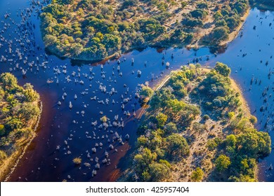 Okavango delta (Okavango Grassland) is one of the Seven Natural Wonders of Africa (view from the airplane) - Botswana, South-Western Africa.