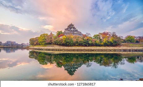 Okayama castle in autumn season in Okayama city, Japan at sunset