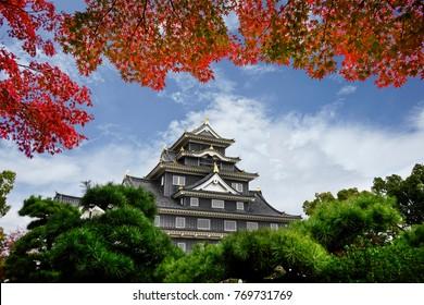 Okayama castle in autumn season of Okayama city, Japan.