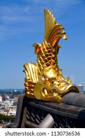 """Okayama City / Japan - Aug. 18, 2016: The decoration called """"fish shaped gargoyles"""" on the roof  of Okayama Castle in Japan is believed that it can prevent fire accident."""