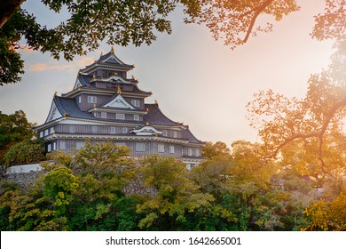 Okayama Crow Castle or Ujo Castle in Okayama City on the Asahi River in Japan With Vivid Sunlight in The Frame. Horizontal Image