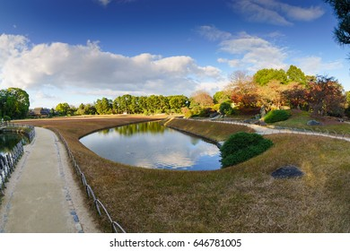 OKAYAMA, JAPAN- DEC 6 : Landscape of Koraku-en garden on Dec 6, 2016 in Okayama, Japan. It is one of the Three Great Gardens of Japan, along with Kenroku-en and Kairaku-en.
