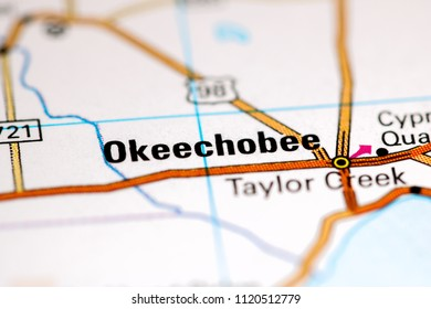 Okeechobee. Florida. USA on a map