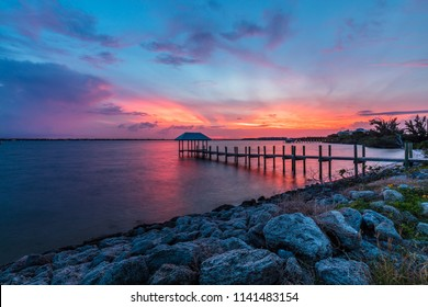 Okeechobee Waterway Sunset Clouds Stuart Florida
