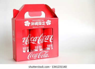 Okinawa, Japan 15 Mar, 2019 : Special Coke cans are only sold in Okinawa with Shisa patterns. The carbonated soft drink is produced by The Coca-Cola Company