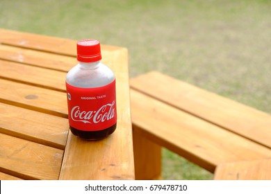 Okinawa, Japan - 5 July, 2017: Coca-Cola plastic bottle, the version is manufactured and sold in Japan only