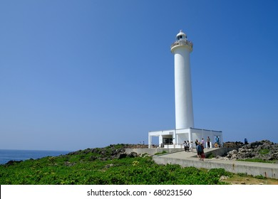 Okinawa, Japan - 9 July, 2017: Lighthouse at Zanpa Cape in Okinawa Japan, beautiful coast,cliff and beaches. A lot of resorts locate and you could enjoy the view from North China Sea