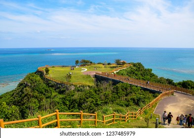 Okinawa, Japan - April 08, 2018:Chinenkudeken park, Cape in Okinawa.