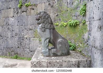 Okinawa, Japan- December 01, 2018: Shisa, Guardian statue at Syuri Castle, Okinawa on December 01, 2018