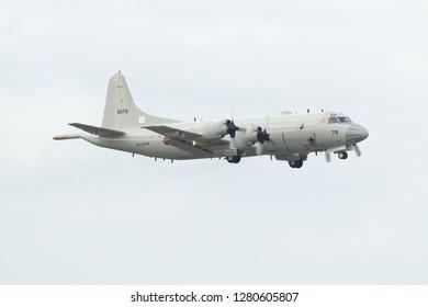 Okinawa, Japan. December 5, 2018. Japan - Maritime Self Defence Force (JMSDF) Kawasaki P-3C Orion Reg. 5073 Taking Off from Naha Air Base.