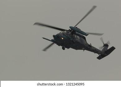 Okinawa, Japan. December 5, 2018. Air Self Defence Force (JASDF) Sikorsky UH-60J Blackhawk Reg. 08-4591 Hover Over Naha Airport.