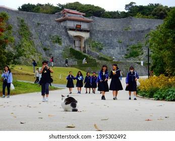 Okinawa, Japan - January 23, 2018: high school japanses students walking in Shuri Castle in Naha City