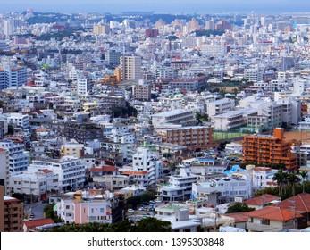Okinawa, Japan - January 23, 2018: View of Naha City from Shuri Castle