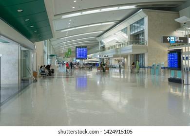 Okinawa, Japan - June 11,2019 : Interior view of Naha Okinawa Airport in Okinawa, Japan on June 11,2019.