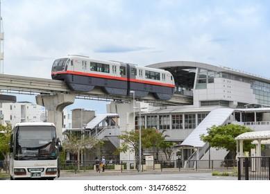 OKINAWA, JAPAN - JUNE 28, 2015: Yui monorail train station in Naha, Okinawa.
