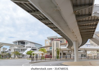 OKINAWA, JAPAN - JUNE 28, 2015: Yui monorail train station in Naha, Okinawa.