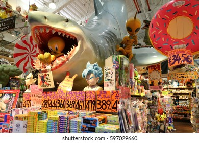 OKINAWA, JAPAN - MARCH 1, 2017 : Souvenir shop interior and decoration at Kokusai street, shopping street in Naha, Okinawa, Japan