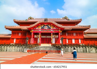 OKINAWA, JAPAN - MARCH 1, 2017 : Shuri castle, landmark in Okinawa Japan