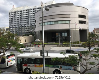 OKINAWA, JAPAN - MARCH 12, 2017 : Naha Cityscape at Kokusai Dori street, downtown in Okinawa Japan