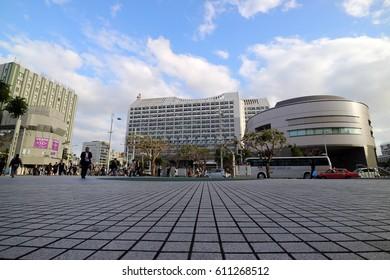 OKINAWA, JAPAN - MARCH 2, 2017 : Naha Cityscape at Kokusai Dori street, downtown in Okinawa Japan