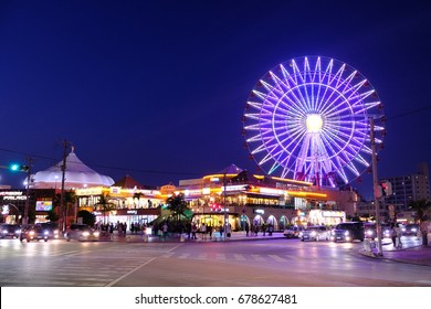 Okinawa, Japan - May 6, 2017: Night view at American Village Okinawa,  was originally intended for US military base. Now become a major commercial and shopping area.